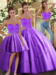 Purple Sleeveless Floor Length Beading Lace Up Quince Ball Gowns