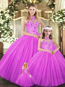 Lilac Sleeveless Embroidery Floor Length 15 Quinceanera Dress