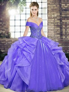 Inexpensive Lavender Ball Gowns Beading and Ruffles Quinceanera Dress Lace Up Organza Sleeveless Floor Length