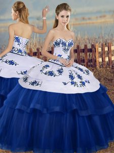 New Arrival Royal Blue Tulle Lace Up Sweetheart Sleeveless Floor Length Quinceanera Gowns Embroidery