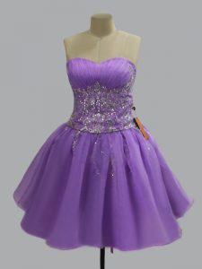 Affordable Lavender Organza Lace Up Club Wear Sleeveless Mini Length Beading