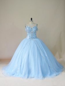 Graceful Beading Quinceanera Gown Light Blue Lace Up Sleeveless Brush Train