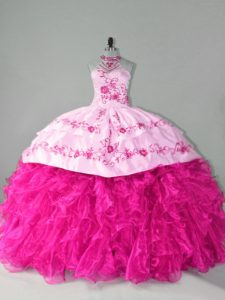 Dramatic Hot Pink Halter Top Neckline Embroidery and Ruffles Sweet 16 Quinceanera Dress Sleeveless Lace Up