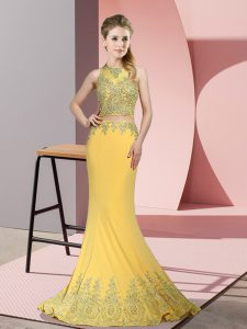 Affordable Gold High-neck Neckline Beading and Appliques Evening Dress Sleeveless Zipper