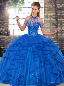 Royal Blue Quinceanera Dress Military Ball and Sweet 16 and Quinceanera with Beading and Ruffles Halter Top Sleeveless Lace Up