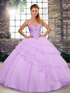 Dazzling Lilac Sweetheart Lace Up Beading and Ruffled Layers Sweet 16 Dresses Brush Train Sleeveless