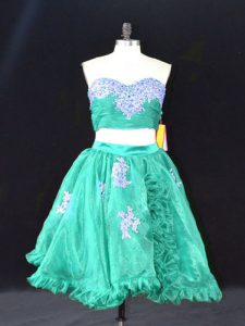 Pretty Mini Length Turquoise Celebrity Style Dress Organza Sleeveless Appliques and Ruffles