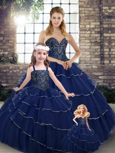 Navy Blue Tulle Lace Up Sweetheart Sleeveless Ball Gown Prom Dress Brush Train Beading and Ruffled Layers