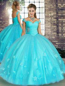 Off The Shoulder Sleeveless Tulle Ball Gown Prom Dress Beading and Appliques Lace Up
