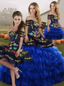 Sleeveless Embroidery and Ruffled Layers Lace Up Vestidos de Quinceanera
