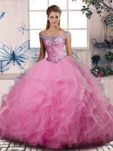 Modest Off The Shoulder Sleeveless Tulle Quinceanera Dress Beading and Ruffles Lace Up