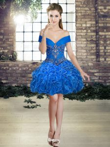 Amazing Organza Sleeveless Mini Length Prom Evening Gown and Beading and Ruffles