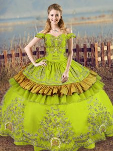 Customized Floor Length Ball Gowns Sleeveless Olive Green Sweet 16 Dress Lace Up