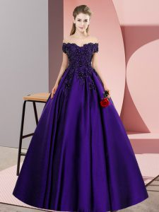 Sleeveless Satin Floor Length Zipper Vestidos de Quinceanera in Purple with Lace