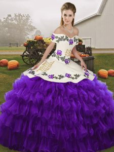 Sweet White And Purple Off The Shoulder Lace Up Embroidery and Ruffled Layers Quince Ball Gowns Sleeveless