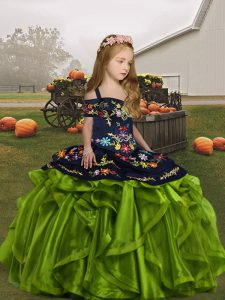 Superior Ball Gowns Little Girls Pageant Gowns Olive Green Straps Organza Sleeveless Floor Length Lace Up