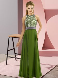 Extravagant Scoop Sleeveless Side Zipper Prom Party Dress Olive Green Chiffon