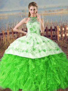 Ball Gowns Embroidery and Ruffles Quince Ball Gowns Lace Up Organza Sleeveless