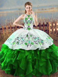 Inexpensive Organza Sleeveless Floor Length Quinceanera Gowns and Embroidery and Ruffles