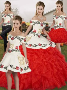 Noble White And Red Off The Shoulder Lace Up Embroidery and Ruffles 15 Quinceanera Dress Sleeveless