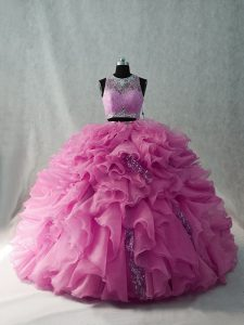 Beading and Ruffles Quinceanera Gown Pink Brush Train