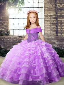 Affordable Beading and Ruffled Layers Glitz Pageant Dress Lilac Lace Up Sleeveless Brush Train