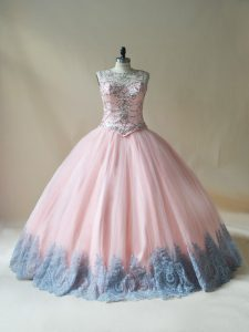 Best Pink Scoop Lace Up Beading and Appliques Quince Ball Gowns Sleeveless