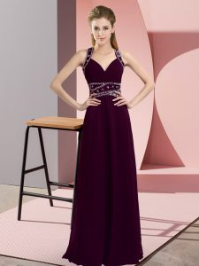 Admirable Dark Purple Backless Straps Beading Chiffon Sleeveless