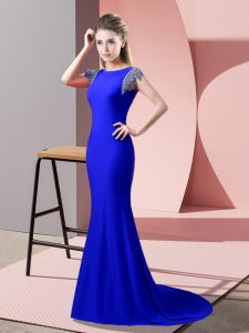 Artistic Royal Blue Mermaid High-neck Short Sleeves Elastic Woven Satin Brush Train Backless Beading Prom Dress