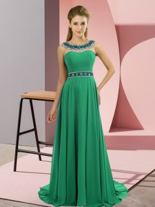 Glorious Sleeveless Chiffon Brush Train Zipper Prom Evening Gown in Green with Beading