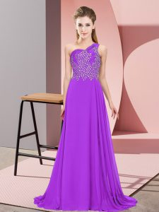 Customized One Shoulder Sleeveless Chiffon Prom Gown Beading Side Zipper