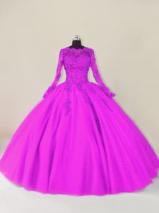 Floor Length Zipper Ball Gown Prom Dress Purple for Sweet 16 and Quinceanera with Lace and Appliques