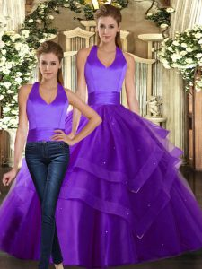 Chic Purple Lace Up 15 Quinceanera Dress Ruffled Layers Sleeveless Floor Length