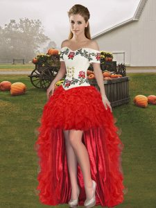 Red Sleeveless Organza Lace Up Red Carpet Prom Dress for Prom and Party