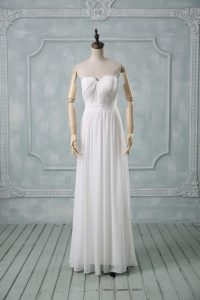 Chiffon Strapless Sleeveless Zipper Ruching Wedding Dress in White