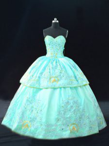 Embroidery Quinceanera Dress Aqua Blue Lace Up Sleeveless Floor Length