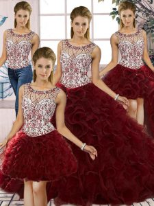 Modest Sleeveless Floor Length Beading and Ruffles Lace Up Ball Gown Prom Dress with Burgundy