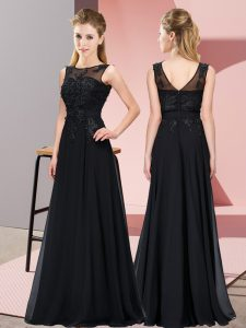 Charming Black Sleeveless Floor Length Beading and Appliques Zipper Dama Dress