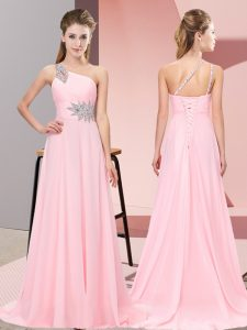 Shining Baby Pink Prom Gown Chiffon Brush Train Sleeveless Beading