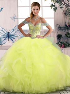 Floor Length Ball Gowns Sleeveless Yellow Green Quinceanera Gowns Side Zipper
