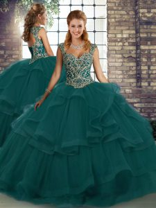 Peacock Green Straps Neckline Beading and Ruffles Quinceanera Dress Sleeveless Lace Up