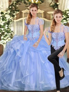 Fine Floor Length Lavender Sweet 16 Quinceanera Dress Strapless Sleeveless Lace Up