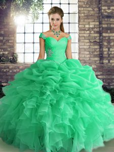 Nice Sleeveless Floor Length Beading and Ruffles and Pick Ups Lace Up 15 Quinceanera Dress with Turquoise