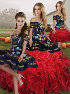 Organza Off The Shoulder Sleeveless Lace Up Embroidery and Ruffles Vestidos de Quinceanera in Red And Black