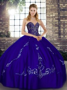 Superior Purple Ball Gowns Tulle Sweetheart Sleeveless Beading and Embroidery Floor Length Lace Up Vestidos de Quinceanera