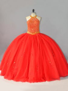 Graceful Coral Red Tulle Lace Up Halter Top Sleeveless Floor Length Sweet 16 Dresses Beading