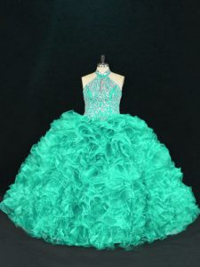 Turquoise Ball Gowns Organza Halter Top Sleeveless Beading and Ruffles Floor Length Lace Up Quinceanera Dresses