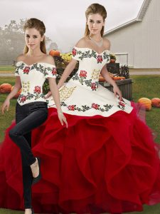 Fantastic Floor Length White And Red Quinceanera Dress Tulle Sleeveless Embroidery and Ruffles
