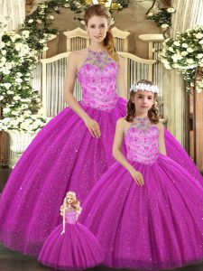 Floor Length Ball Gowns Sleeveless Fuchsia Quince Ball Gowns Lace Up