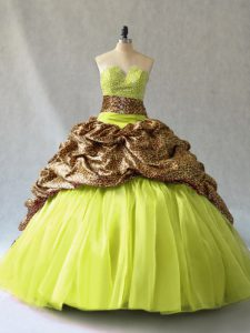 Most Popular Yellow Green V-neck Lace Up Beading Quinceanera Dresses Brush Train Sleeveless